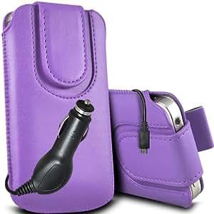 ONX3 HTC Desire 300 Leather Slip cuerda protectora magnética de la PU Pull In Pouch Case Quick Release y 12v Micro USB cargador de coche (púrpura)