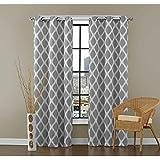 Dekor World 2 Piece Cotton Printed Eyelet Curtain Set - 110 cm X 150 cm, Grey