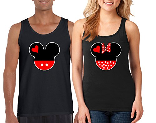 Mickey and Minnie Love Heart Head Design Couple Tank Top Shirt Popular Shirt 1(Black-Black,Men-XXL/Women-XXL) -