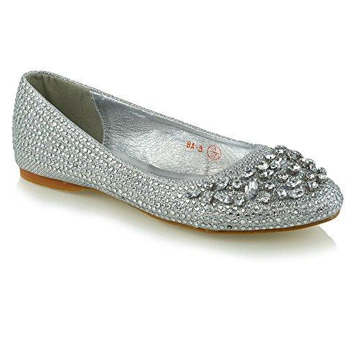 Essex Glam Women's Bridal Silver Diamante Glitter Flat Ballerina Pumps 9 B(M) US