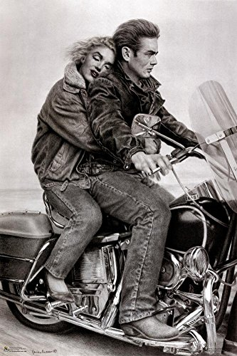 (24x36) James Dean & Marilyn Monroe (Motorcycle) Movie Poster Print (Movie Posters James Dean)