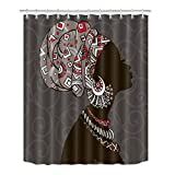 LB African Tribal Woman Black Art Theme Stall Shower Curtain by, Africa Ethnic Bathroom Decor, 70 x 70 Fabric Shower Curtain Waterproof Mildew Resistant