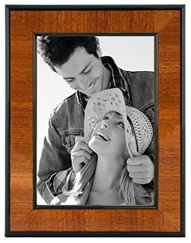 Malden International Designs Burl Wood Walnut Wooden Picture Frame with Black Border, 5x7, - Wooden Unique Frames