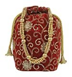 Purse Collection Jaipuri Style Red & Golden Indian Potli With Stone Work Traditional Bags For Women's