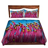 DiaNoche Designs Patti Schermerhorn Unique Home Decor Bedding Ideas Peace Love Flamingos Cover, 8 King Duvet Sham Set