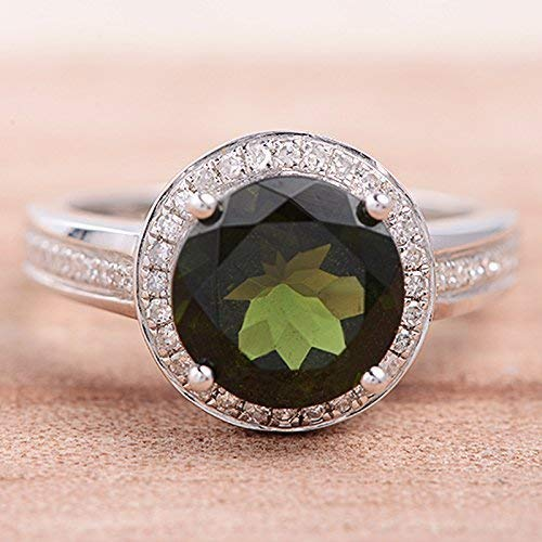 9mm Round Cut Green Tourmaline Engagement Ring White Gold Halo Diamond Wedding Band Half Eternity Claw ()