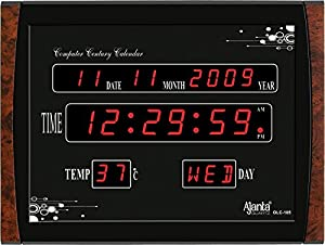 Ajanta Plastic Digital Black Wall Clock (39.6 cm x 29.6 cm x 3.1 cm ) - OLC-105