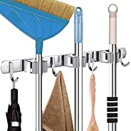 CHARMOUNT Mop and Broom Holder Wall Mount - Heavy Duty Mop & Broom Hanger with 3 Grippers 4 Hooks, Stainle