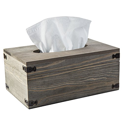 MyGift Distressed Wood Tissue Box Holder with Hinged ()