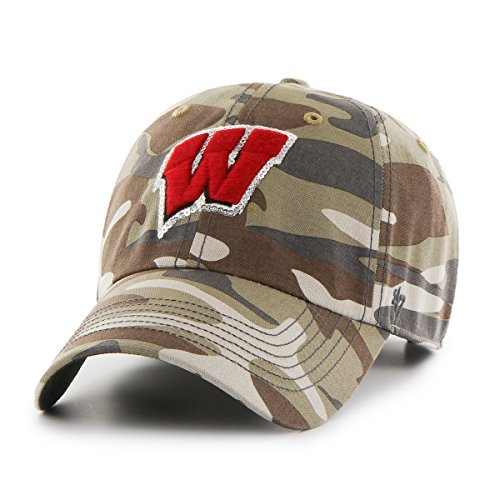 Camo Sparkle ('47 NCAA Wisconsin Badgers Women's Sparkle Camo Clean Up Adjustable Hat, One Size, Faded Camo)