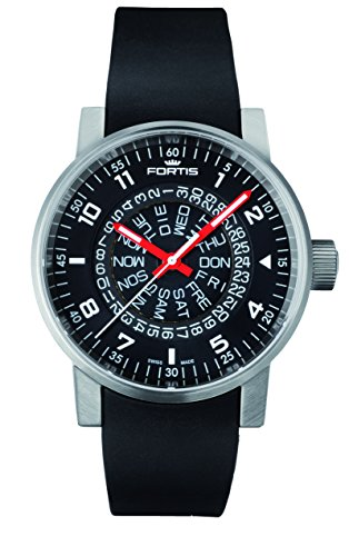 fortis-mens-6231051-si01-spacematic-classic-black-red-analog-display-automatic-self-wind-black-watch