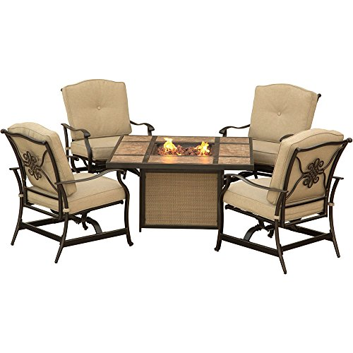 Hanover 5 Piece Traditions Outdoor Tile Tabletop Fire Pit Lounge Set, Natural Oat/Antique Bronze