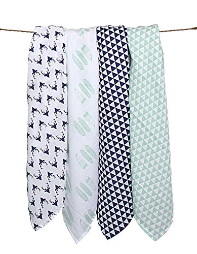 Bacati Noah Tribal Buck/Feathers/Triangles 4 Piece Cotton Muslin Swaddling Blankets, Aqua