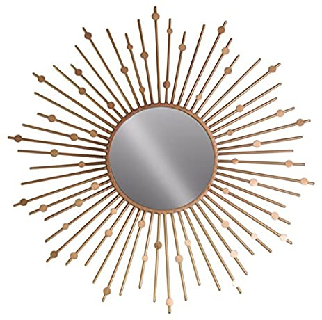 Amazon.com: Benzara Wall Mirror with Sunburst and Circles Design ...