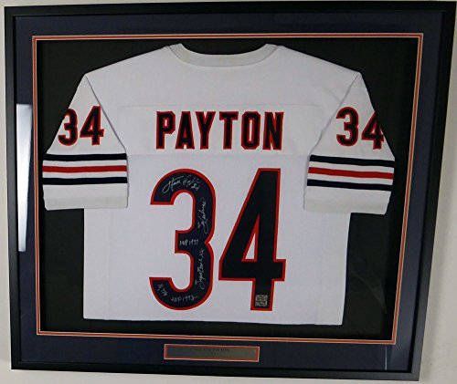 Chicago Bears Walter Payton Autographed Framed White Jersey With Stats Sweetness & HOF 1993