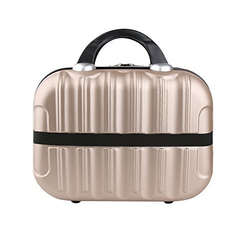 Hand Lever Champagne (Genda 2Archer Hard Shell Cosmetic Carrying Case Small Hardshell Travel Hand Luggage (Champagne))