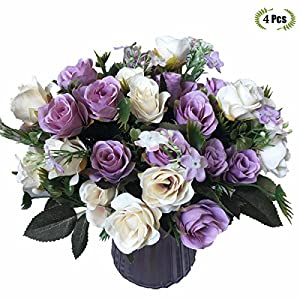 LoveniMen Treeding Silk Artificial Rose Flowers, Real Touch Plants Home Decorations for Bridal Wedding Bouquet, Birthday Flowers Bunch Hotel Party Garden Floral Décor 65
