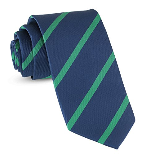 (Handmade Striped Ties For Men Skinny Woven Slim Rep Navy Blue & Green Mens Stripes Tie: Thin Necktie, Stylish Neckties For Every Outfit)
