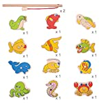 Bigjigs Toys Wooden Magnetic Fishing Game Set with Rod