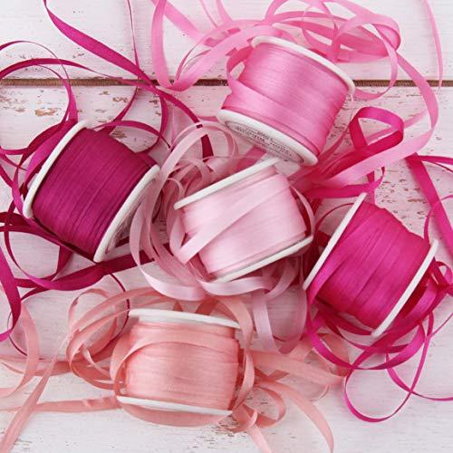 Threadart 4mm Silk Ribbon Set - Red/Pink Shades - Five Spool Collection - 100% Pure Silk Ribbon - 10m (11yd) Spools - 55 Yards of Ribbon ()