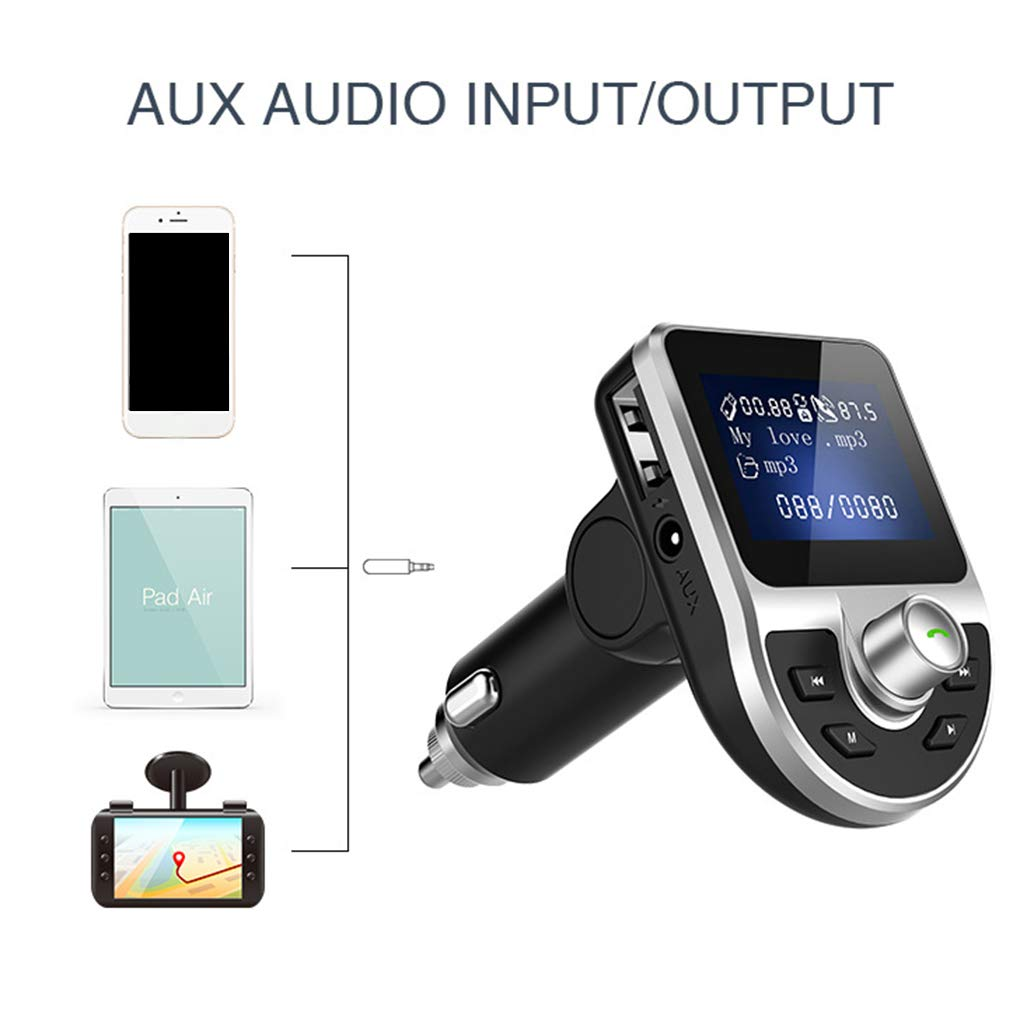 Ben-gi Bluetooth Car FM Transmitter MP3 Player with 1.44inch LCD Display Dual USB 3.1A Quick Charger Micro SD TF Music Playing