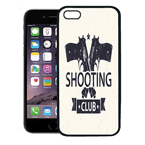 Semtomn Phone Case for iPhone 8 Plus case,Handgun Shooting Club Emblem Sign Crossed Pistols Guns Weapon Aggression iPhone 7 Plus case Cover,Black