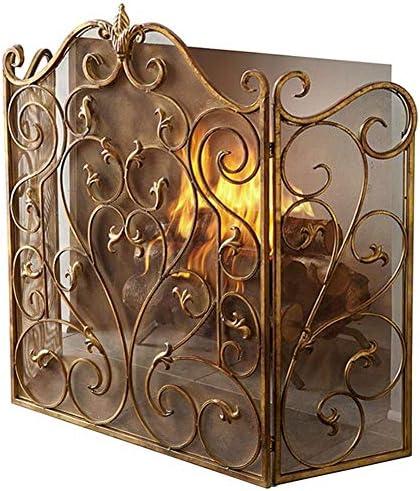暖炉スクリーン 大 ファイアガード 暖炉スクリーン 折りたたみ3パネル、 ソリッド鍛鉄フレーム 金属メッシュ付き、 赤ちゃん 安全証明暖炉フェンス 暖炉用 ゴールド (Color : Gold)