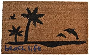 Imports Décor Vinyl Backed Coir Doormat, Beach Life, 18 by 30-Inch