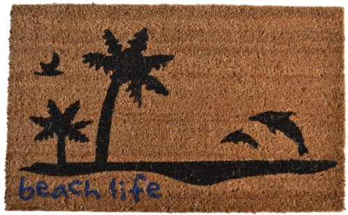 Imports Décor Vinyl Backed Coir Doormat, Beach Life, 18 by 30-Inch