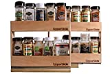 Pull Out Sliding Shelf Spice Racks (Two Small Double) for Upper Cabinet - Starter/Expansion Pack #1 (UpperSlide Cabinet Caddies Model #US 303SEP1)