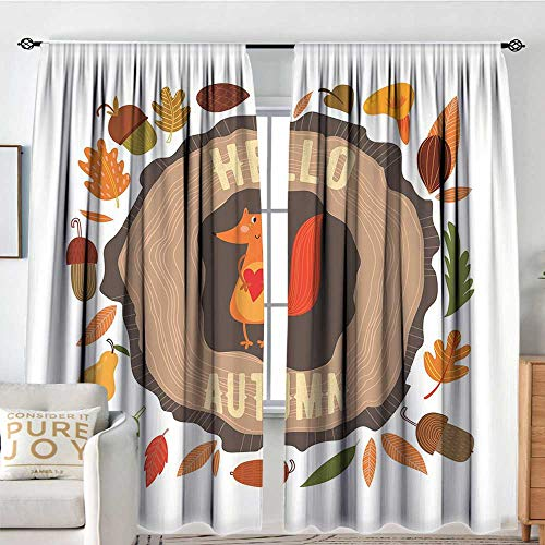 DESPKON-HOME Hello Pole Wearing Curtains Separate Heating Inspirational Autumn Themed Design with Vintage Fox Illustration Acorns Leaves Heart Printed Darkening Curtains W96 x L72 in Multicolor ()