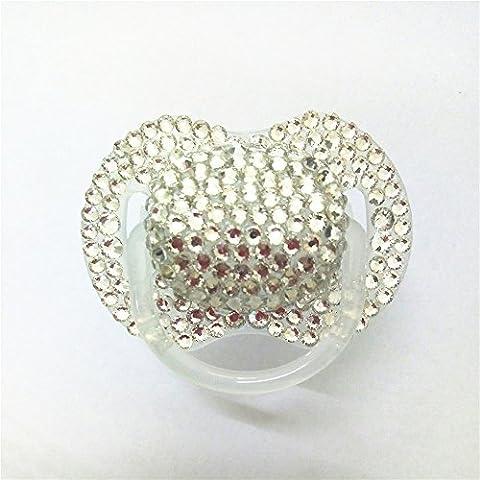 Dollbling Custom Unique Sparkle Silver Rhinestones Crystals Baby Pacifier ,1PC - Custom Crystal