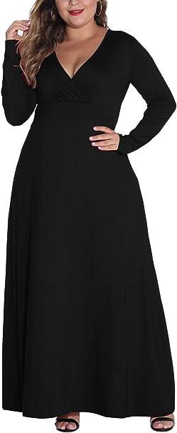 Hwokefeiyu Women Long Sleeve Loose Plain Casual Plus Size Long Wedding Bridal Party Maxi Dress