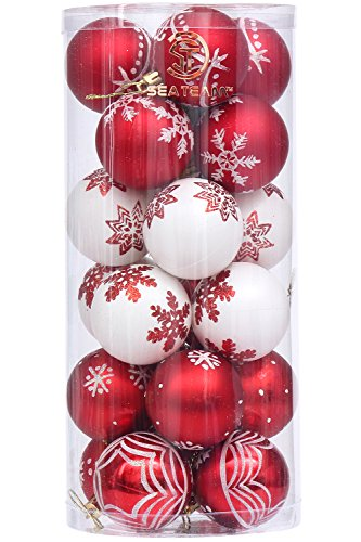 """Sea Team 60mm/2.36"""" Delicate Contrast Color Theme Painting & Glittering Christmas Tree Pendants Decorative Hanging Christmas Baubles Balls Ornaments Set - 24 Pieces (Red & White)"""