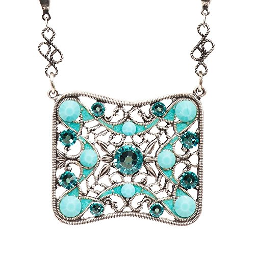 Anne Koplik Swarovski Crystal Web Square Pendant Necklace 7886 ()