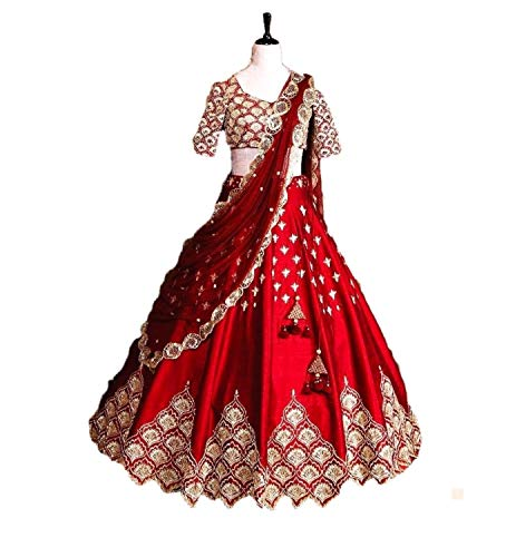 Indian Designer Collection Traditional Bridal Wedding Lehenga Choli Red Color with Net Duptta A342
