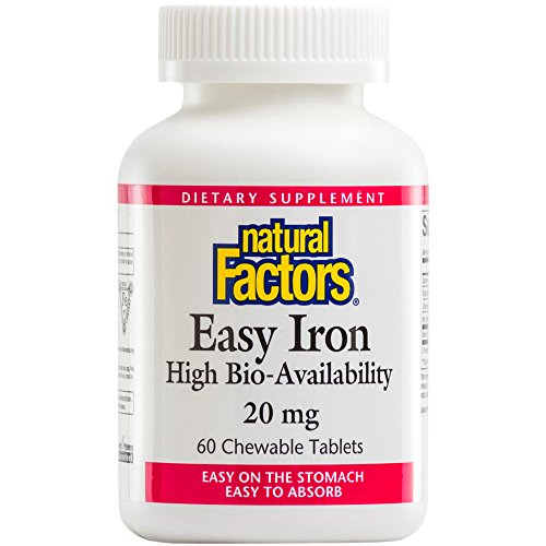 Natural Factors, Easy Iron 20 mg Chewable, Supports Energy Production and Oxygen Transportation, 60 tablets (60 servings)