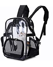 Texsens Pet Carrier Backpack, Transparent Backpack Carrier Bag for Cats Puppies, Breathable Mesh Window, Airline-Approved, Designed for Travel, Walking, Hiking & Camping (Black)