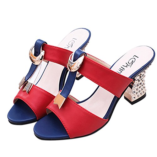Heel Toe Women Slide Work Slippers Sandals Peep Shoes Red Jiyaru High Heeled XRwqdtz