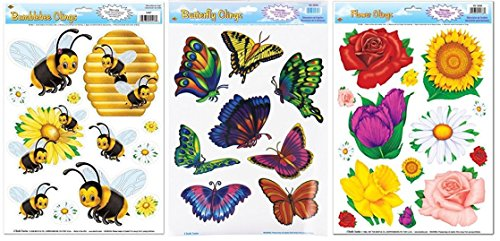 Beistle Spring/Summer Window Clings: Bundle of 3 Sheets for festive decor or party accessory