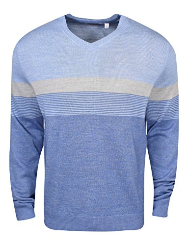 Calvin Klein Men's Merino Color Block Stripe V-Neck Sweater, Arce Combe, X-Large by Calvin Klein