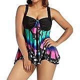 Hemlock Women Two Pieces Swimsuits Tankini Vest Plus Size Swimwear Bras Shorts Underwears Bikini Beachwear (XXL, Purple)