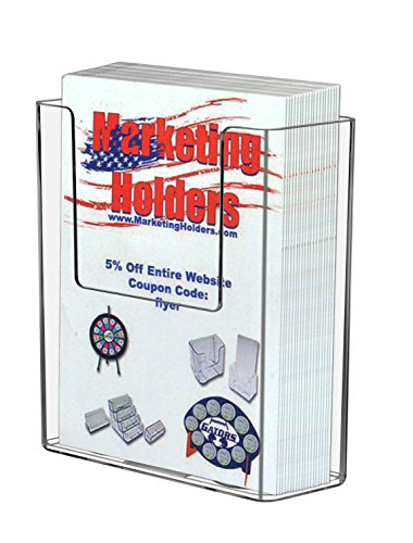 Marketing Holders 6 Pack Clear Acrylic Wall-Mount Brochure Holder for 4'w Literature by Marketing Holders