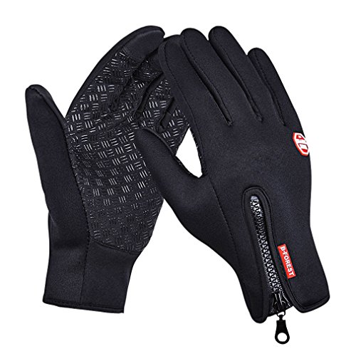 (GEREE Bike Gloves, Full Finger Bike Touchscreen in Winter Outdoor Windproof Black Cycling Gel Gloves Adjustable Size (XL))