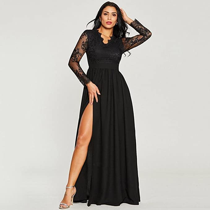 Wedding Maxi Lace Dresses for Women Ladies,Lolittas Sexy Vintage Prom Flapper Party Evening Skater Swing Long Sleeve V Neck: Amazon.co.uk: Clothing