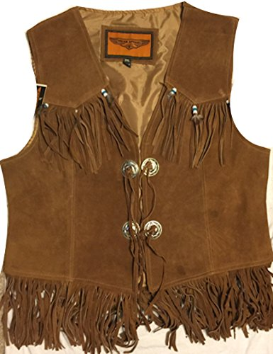 Fringed Womens Motorcycle Jacket - Ultimate Leather Apparel Women's Western Vest with Fringe and Beads (L, Brown)