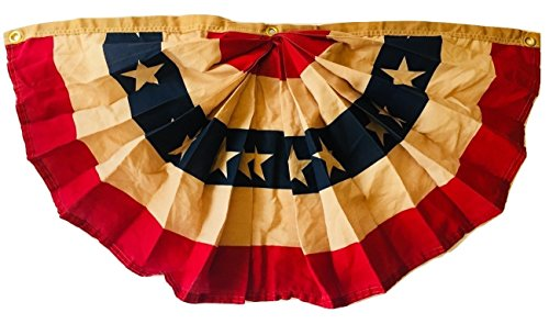 18x36 Inches 1.5x3 Ft Double Sided (Tea Stained Antique) Outdoor US American Flag Bunting Half Fan Fully Pleated Cotton Blend Windstrong® Flag SATISFACTION GUARANTEED MADE IN THE USA