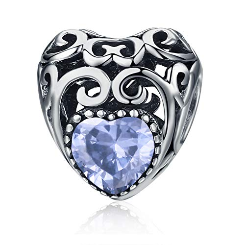 June Bead Boy Charm - Birthstone Charms- Leaves Wave Heart Bead Charms- 925 Sterling Silver Openwork Charm fit Pandora Charm Bracelet Necklace for Women, Daughter, Wife, Girlfriend, Mother (June) BJ09013
