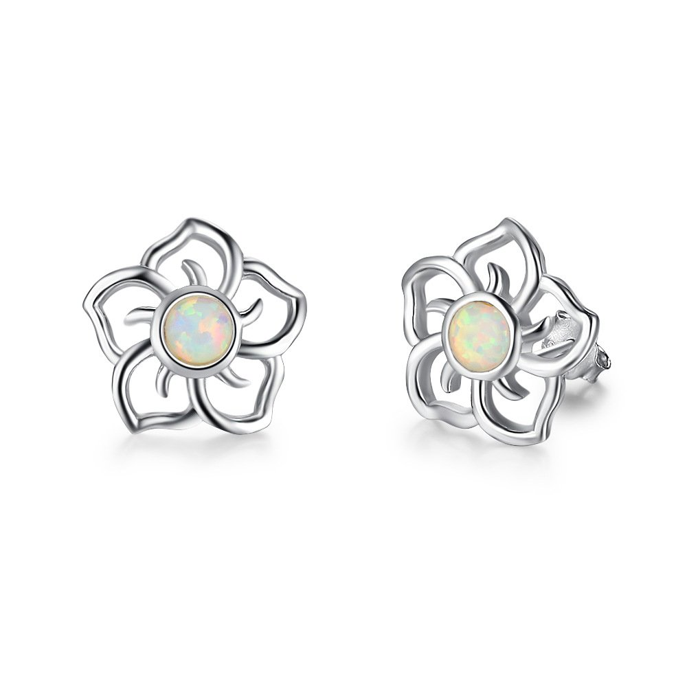 20MM 925 Sterling Silver Opal Simulated Coral Carved Rose Flower Earrings