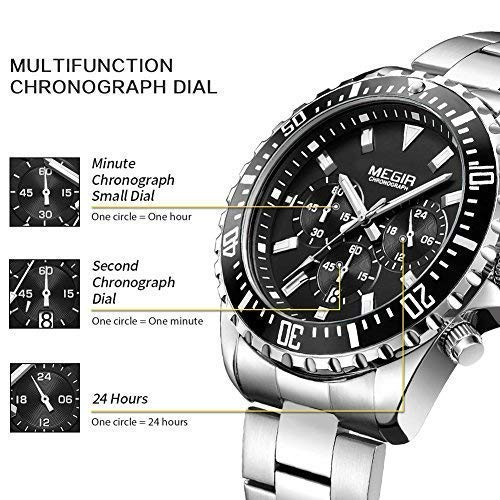 Amazon.com: MEGIR Mens Analog Stopwatch Quartz Watch with Stainless Steel Strap for Business Work Sport MS-2064G: Watches